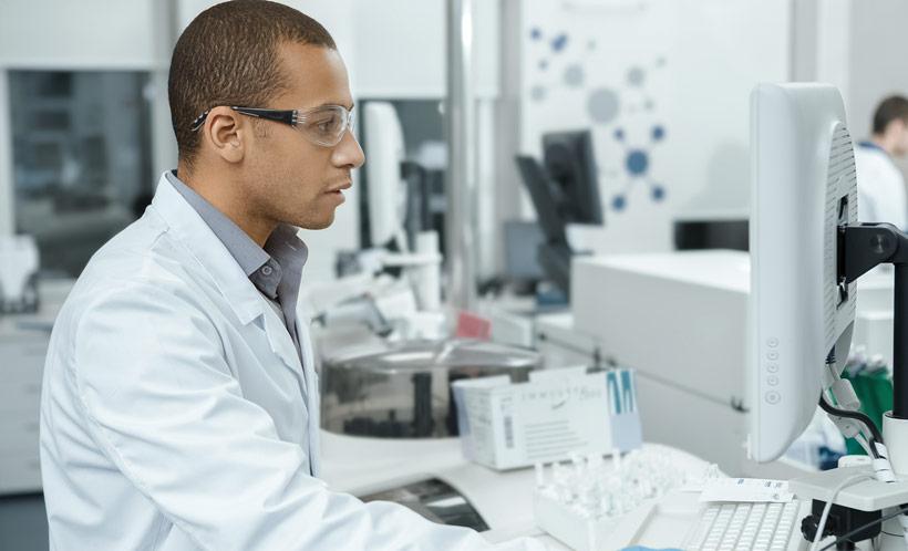 Scientist at computer
